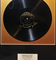 "SATCHMO!! Louis Armstrong with Lil's Hot Shots ""GEORGIA BO BO"" Framed 78 (Signed by Wynton Marsalis!)"