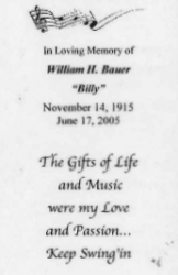 BILLY BAUER Funeral laminated card