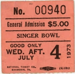 Newport Jazz Festival New York Ticket stub 7/4/1973 Renaming of the Singer Bowl to LOUIS ARMSTRONG STADIUM