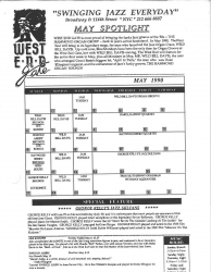 The West End (West End Gate) monthly flyer from the last month (May 1990) of the seven day a week Jazz program