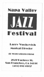 Napa Valley Jazz Festival LARRY VUCKOVICH business card