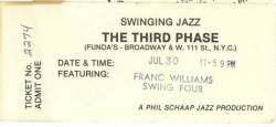 FRANC WILLIAMS SWING FOUR, The Third Phase ticket, 1977!