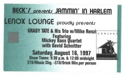 Lenox Lounge Ticket, GRADY TATE Trio & Mickey Bass Quartet!
