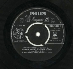 DUTCH COLLEGE SWING BAND, Swing College At Home No. 1, Phillips 45, BBE 12234