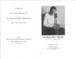 TAL FARLOW FUNERAL & MEMORIAL Programs, 7/29 and 9/20 1998!