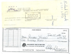 THREE AUTOGRAPHED CHECKS, Candy Ross, Peck Morrison, and Richard Wyands, plus Phil's!
