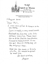 August Blume Letter to Phil regarding 1958 JOHN COLTRANE Interview