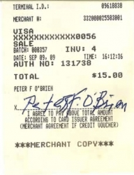 REV. PETER O'BRIEN Signed Charge slip, 2009