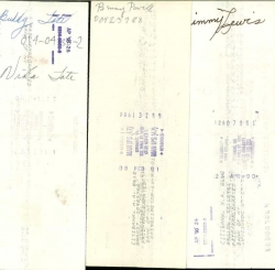 AUTOGRAPHED Check Bundle from BASIE ORCH. members: Jimmy Lewis, Benny Powell, Buddy Tate, Earle Warren, & Buck Clayton!
