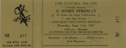 Coach BARRY HARRIS, Jazz Cultural Theatre June 11, 1987 HEADLINER: Scoby Stroman, ticket