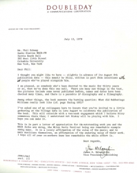 DOUBLEDAY Letter to Phil Regarding Dizzy Gillespie Autobiography and Dustcover!