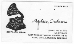 MACHITO ORCHESTRA (Mario Grillo, son of Machito) Business Card