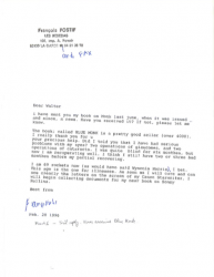 FRANÇOIS POSTIF (famous interviewer of Lester Young) 1996 letter to Walter Schaap