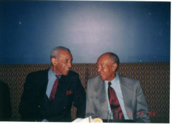 MAX ROACH & HAROLD LAND last photo! on October 30, 1999 (Brownie's 69th Birthday)
