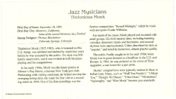 THELONIOUS MONK background info card for USPS 1st Class Stamp