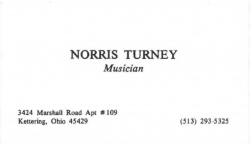 NORRIS TURNEY (famed Ellingtonian) Business Card