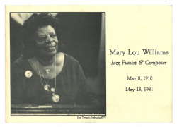 MARY LOU WILLIAMS Memoriam Card
