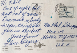 GENE RODGERS postcard to Phil