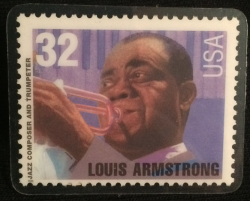 LOUIS ARMSTRONG lapel button of 1st class stamp