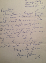 HAYWOOD HENRY letter to Phil!