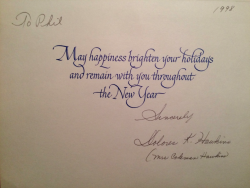 DOLORES HAWKINS (Coleman Hawkins widow) Christmas card to Phil