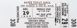ALICE TULLY HALL holiday festival concert 1989 ticket stub