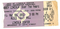 ABBEY LINCOLN ticket stub