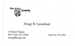 Hoagy Bix Carmichael business card (the composer's son)