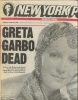 NEW YORK POST of April 16, 1990 with a review of BILL DOGGETT and GRETA GARBO'S DEATH