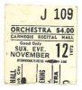 CARNEGIE RECITAL HALL November 12, 1972 TRIBUTE TO BILLIE HOLIDAY No Gap Generation Jazz Band Ticket Stub