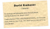DAVID KRAKAUER business card!
