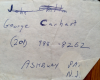 GEORGE CARHART signed phone number on paper slip