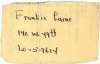 FRANKIE LAINE, Hand Signed Contact Information