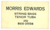 MORRIS EDWARDS business card